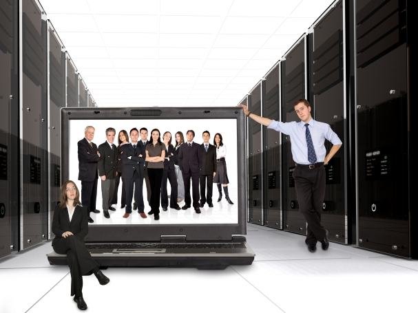 business online network team - 3d servers and a huge business team on a laptop